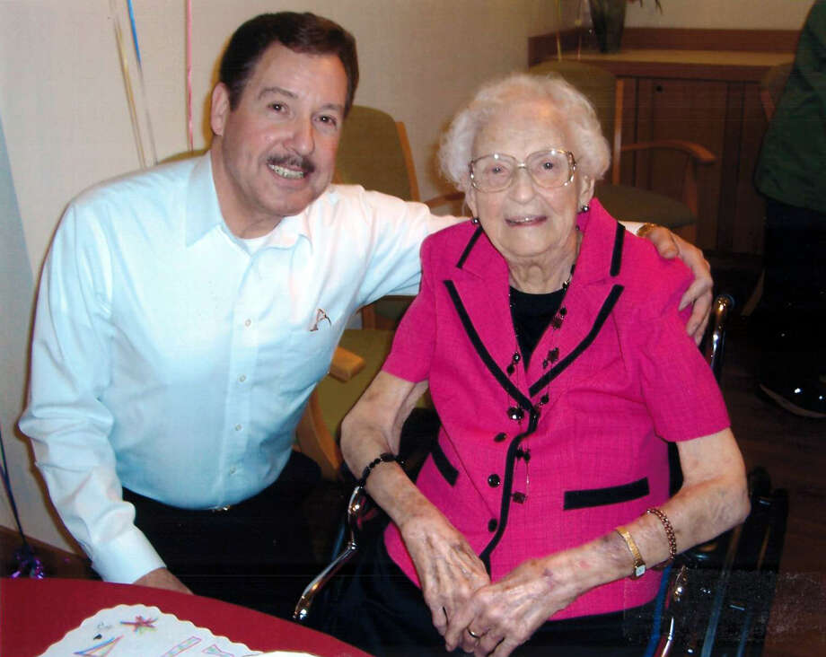Violet Smith is pictured with Floyd Andrick on Violet's 110th Birthday on April 7, 2012, at King's Daughters Home in Midland. (Photo provided/Floyd Andrick)