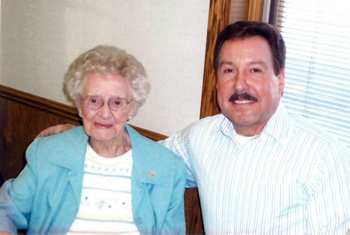 Floyd Andrick is pictured with 'Aunt' Bea Cooper for her 110th Birthday on Feb. 3, 2007. (Photo provided/Floyd Andrick)