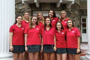 Nine Greenwich Academy seniors were named 2018 National Merit Scholar semifinalists on Wednesday, after they scored in the top one percent of students who took the 2018 Preliminary SAT exam. In the front row stands: Meghan Meyerson, Sophia Klein, Hanna Tulchinsky, Isabelle Allard and Sydney Pittignano. In the back row, Holland Ferguson, Grace Austin, Sophia Moore and Laura Kapp pose for the photo.
