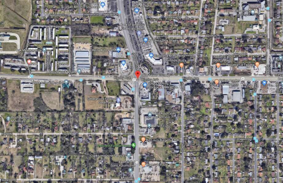 A San Antonio man died after being hit by two different cars late Tuesday night on the East Side. The map shows the approximate area in which the incident occurred. Photo: Google Maps