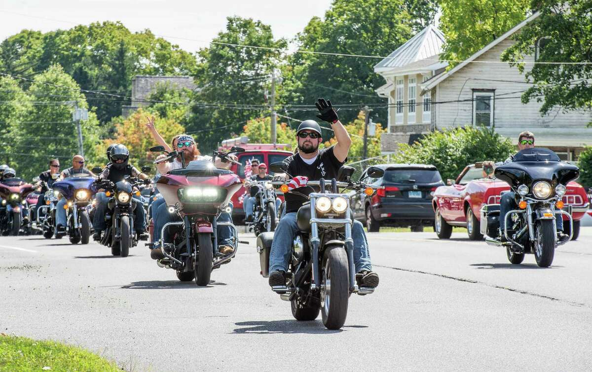 Two thousand motorcycles caravan on Route 7 in Wilton for the annual CT United Ride, the state's largest 9/11 tribute, on Sunday, September 8, 2019. The ride started in Norden Place in Norwalk and finished in Seaside Park in Bridgeport.
