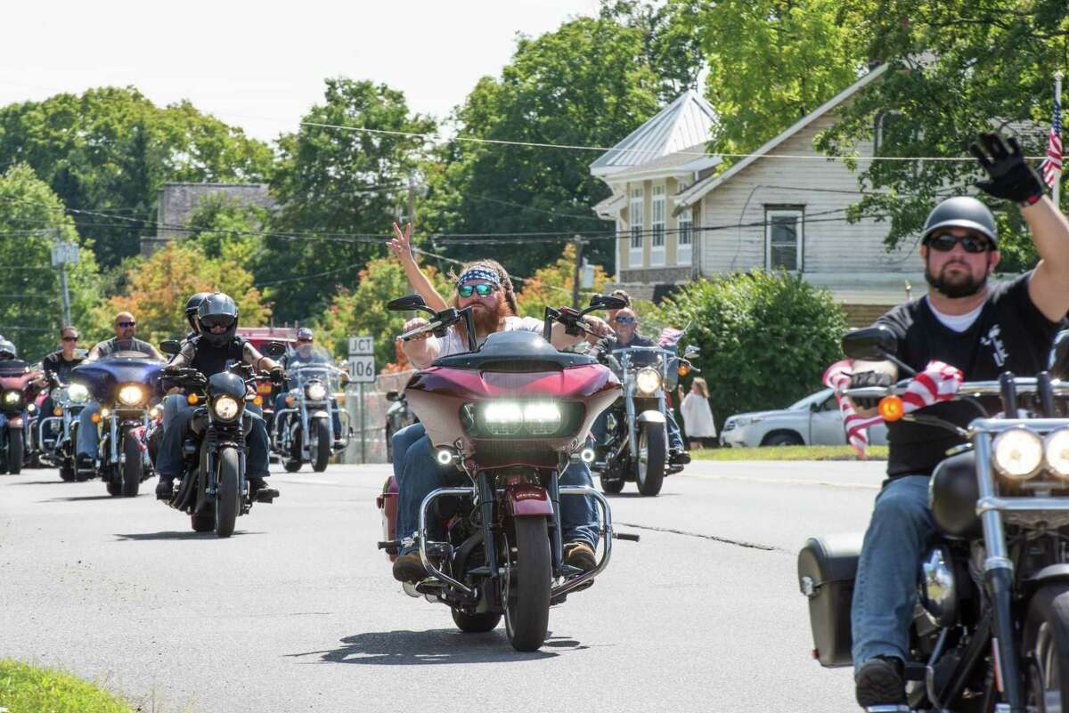 Two thousand motorcycles caravan on Route 7 in Wilton, Connecticut for the annual CT United Ride, the state's largest 9/11 tribute, on Sunday, September 8, 2019. The ride started in Norden Place in Norwalk and finished in Seaside Park in Bridgeport.