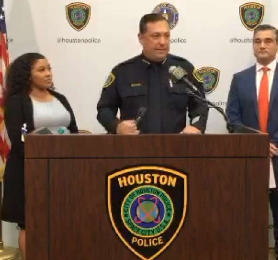 Houston Police Chief Art Acevedo speaks at a news conference Wednesday regarding the incident involving a driver nearly hitting a 5-year-old girl. Photo: Houston Police Department