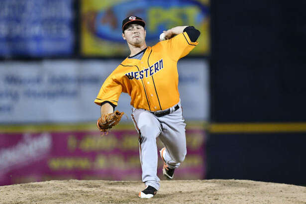 Keegan Akin pitches in the 2018 Eastern League All-Star Game as a member of the Bowie Baysox.