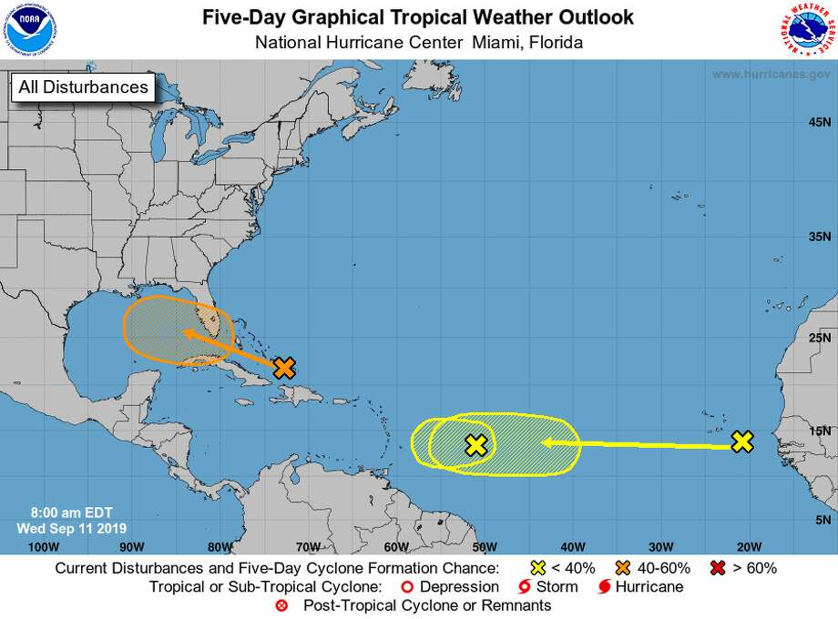 A tropical disturbance in the far southeastern portion of the Gulf of Mexico now has higher chances of developing into a storm, although the likelihood of it directly impacting Southeast Texas is low, meteorologists say. Photo: National Hurricane Center