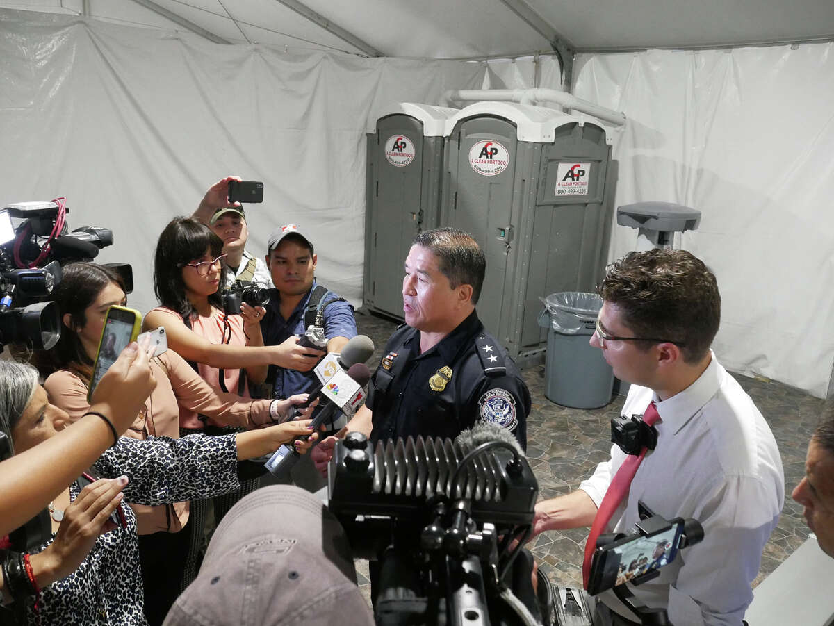 Members of the media were given a tour of the migrant tent facility located on the border. Hearings are set to begin on September 16.
