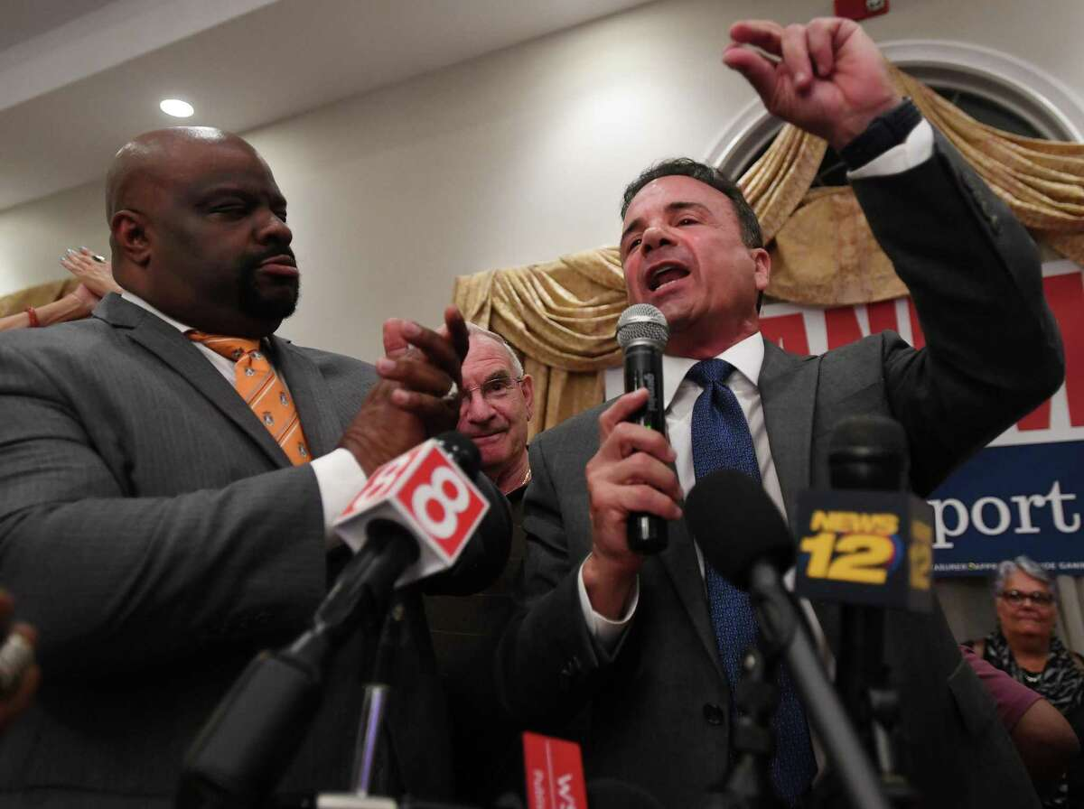 Bridgeport Mayor Joe Ganim celebrates his victory in the Bridgeport Democratic mayoral primary at Testo's Restaurant in Bridgeport, Conn. on Tuesday, September 10, 2019.