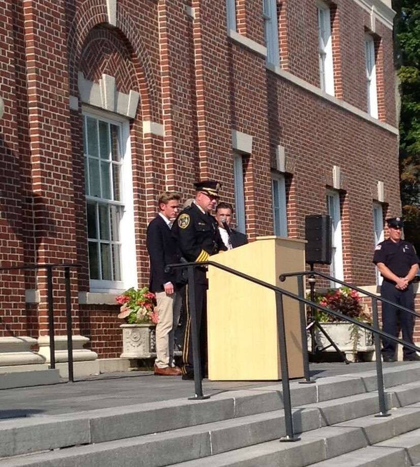 Police Chief Leon Krolikowski spoke on the steps of New Canaan Town Hall at the 9/11 Memorial Ceremony , Sept. 11, 2019. Photo: Contributed Photo