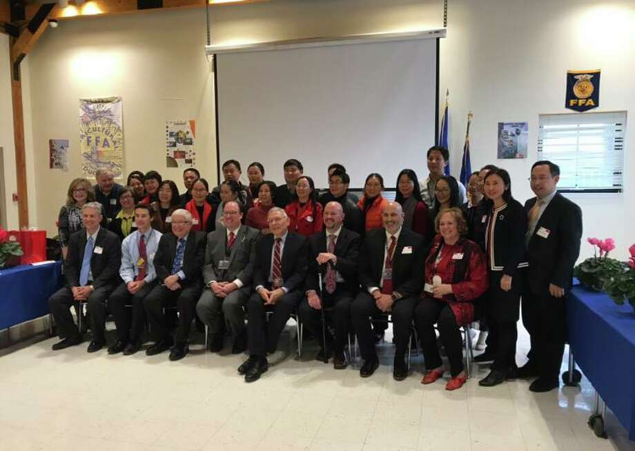 Trumbull High School recently hosted a group of Chinese educators. Photo: Michael Cerulli / Trumbull Times Contributed