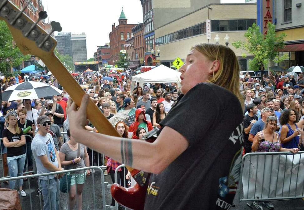 Turbo Fruits' Johny Fischer during the band's performance at this year's Pearlpalooza Saturday Sept. 12, 2015 in Albany, NY. (John Carl D'Annibale / Times Union)