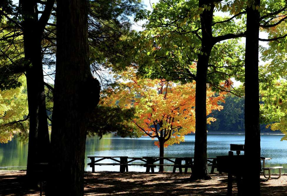 A view of fall foliage at Moreau Lake State Park on Wednesday, Oct. 5, 2016, in Gansevoort, N.Y. (Paul Buckowski / Times Union)