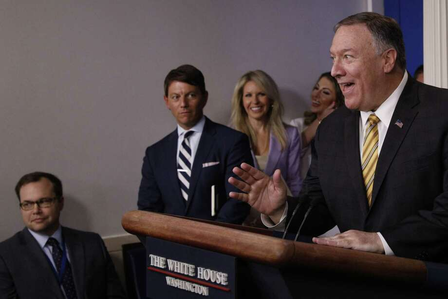 Secretary of State Mike Pompeo takes questions from the press during a news conference on Sept. 10, 2019, inside the James S. Brady Briefing Room at the White House in Washington. Photo: Bloomberg Photo By Trom Brenner. / © 2019 Bloomberg Finance LP