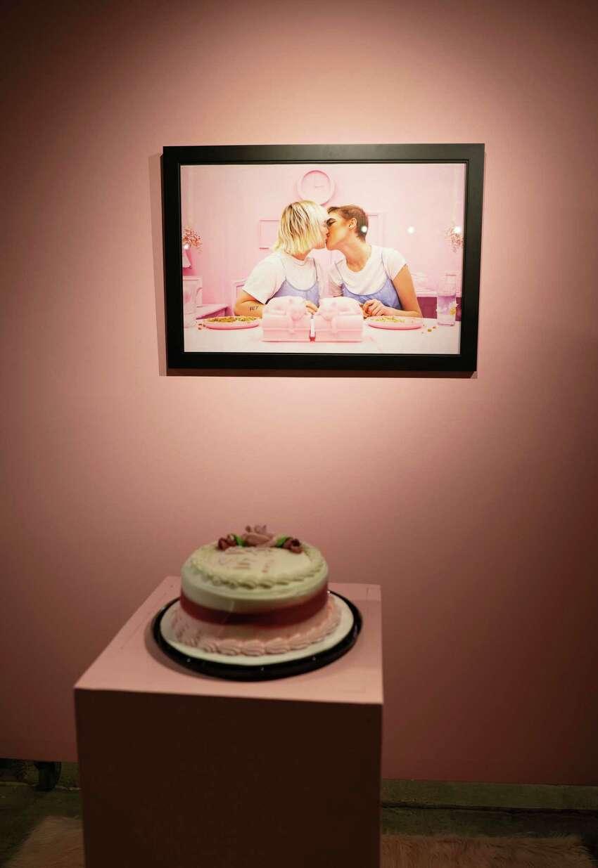 Ana Loor, Sweet Like and Eat Me, 2019, digital print and cake. Photo Wm Jaeger