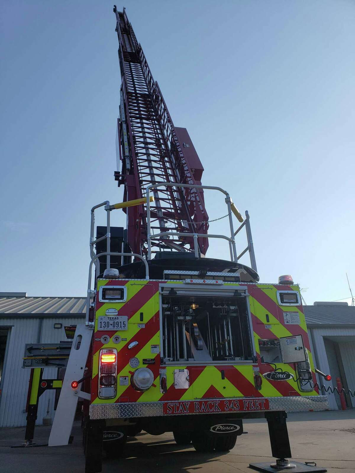 Tomball Fire Department's new fire truck features a ladder that extends to a height of 107 feet.