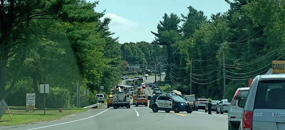 An overturned tractor-trailer truck is causing big traffic delays on Route 25 in Newtown on Wednesday, Sept. 11, 2019. Photo: Tara O'Neill /Hearst Connecticut Media