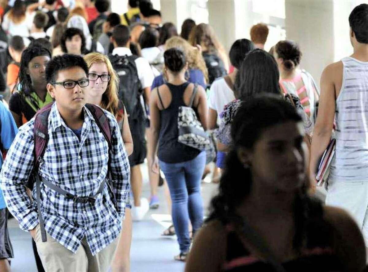 Students in the hallways between classes at Danbury High School,