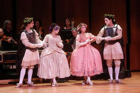 """The New York Baroque Dance Company in Ars Lyrica's 2015 production ofMarc-Antoine Charpentier's """"Les arts florissants"""" in Zilkha Hall."""