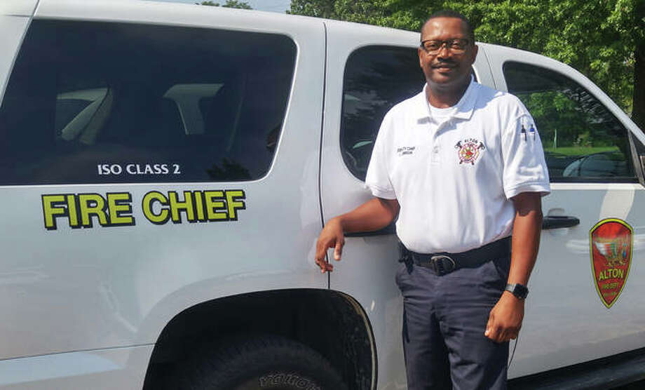 Jesse Jemison on Monday assumed his duties as Alton Fire Chief. With the department for 26 years, Jemison also is the city's first African American fire chief. Photo: Jeanie Stephens|The Telegraph
