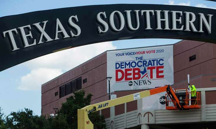 Signage is hung on the campus of Texas Southern University in Houston, Tuesday, Sept. 10, 2019. The university will host a Democratic presidential candidate debate on Thursday, September 12, 2019.