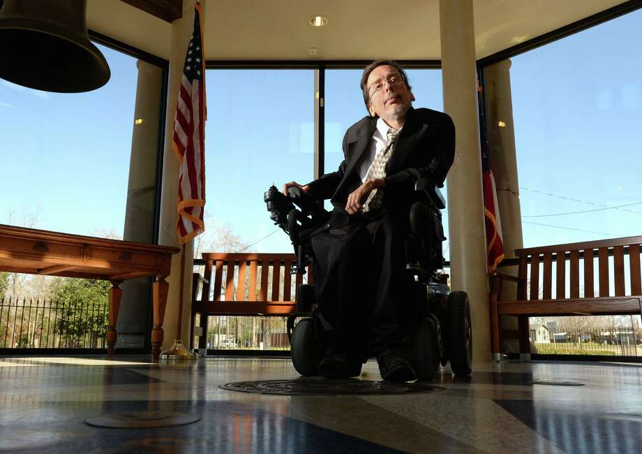 Hardin County's District Attorney David Sheffield was born with a neuromuscular disorder and lived much of his life having to sleep in an iron lung.  Photo taken Thursday, February 20, 2015 Guiseppe Barranco/The Enterprise Photo: Guiseppe Barranco, Photo Editor / Guiseppe Barranco/The Enterprise