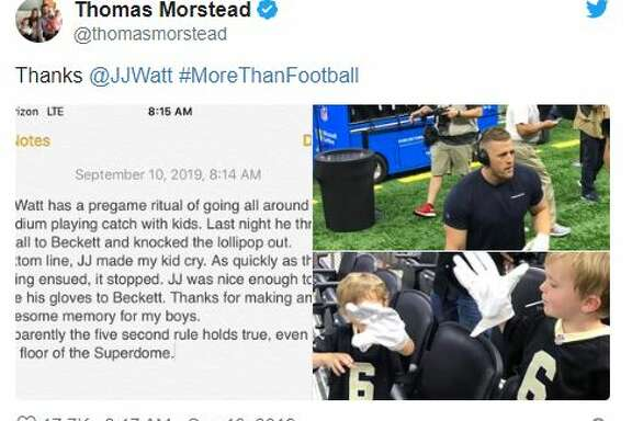 New Orleans Saints punter Thomas Morstead tweeted about JJ Watt accidentally knocking-out a lollipop from his son's mouth before Monday night's game against the Texans. Watt made it up to the crying boy by giving him some gloves.