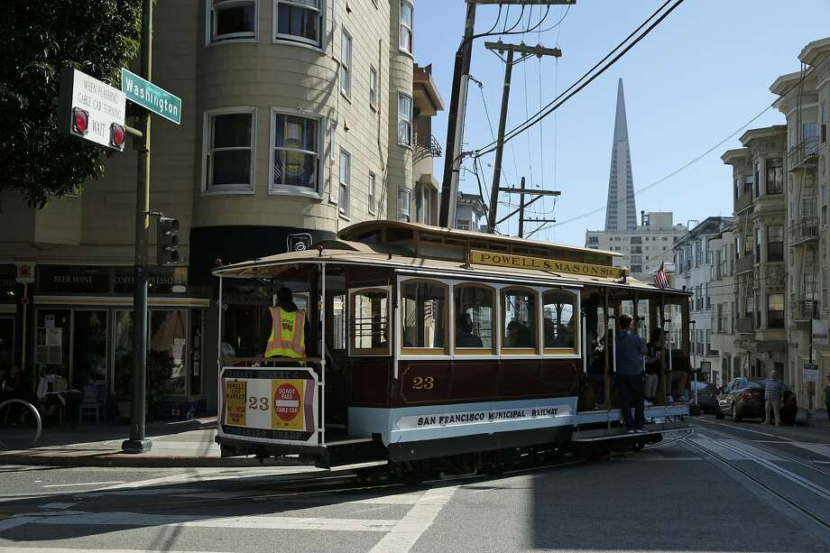 A cable car turns onto Washington Street with the Transamerica Pyramid in the background Wednesday, Sept. 11, 2019, in San Francisco. San Francisco's iconic cable cars will stop running for 10 days starting Friday to undergo repairs. Photo: Eric Risberg, Associated Press