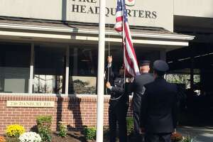 Flags were lowered to half-staff in Wilton to honor victims of a mass shooting in Indianapolis on Friday, April 16. Picture taken Sept. 11, 2019.