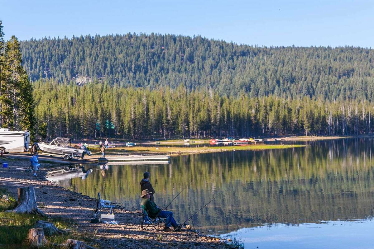 FILE:  Campers relaxing and fishing in Medicine Lake Recreation Area in Modoc National Forest south of Tulelake.