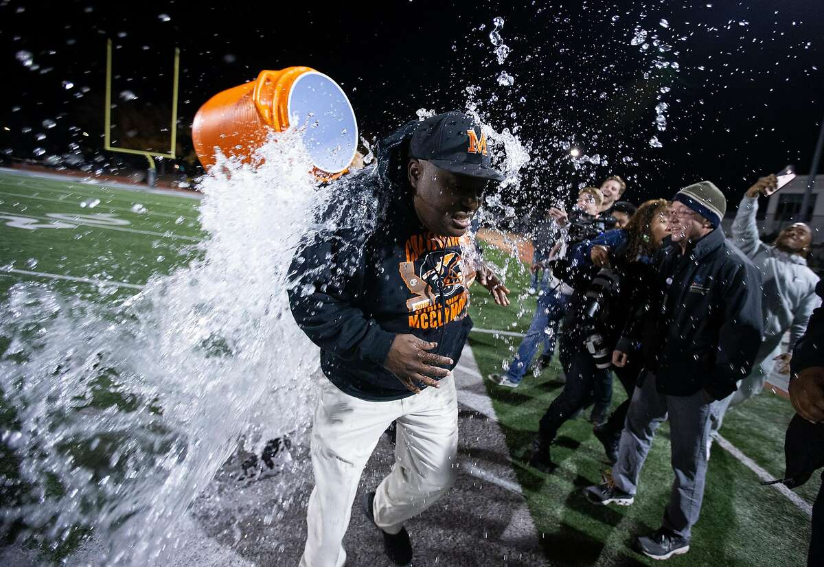 McClymonds head coach Michael Peters gets a Gatorade shower after winning a section title in 2018.