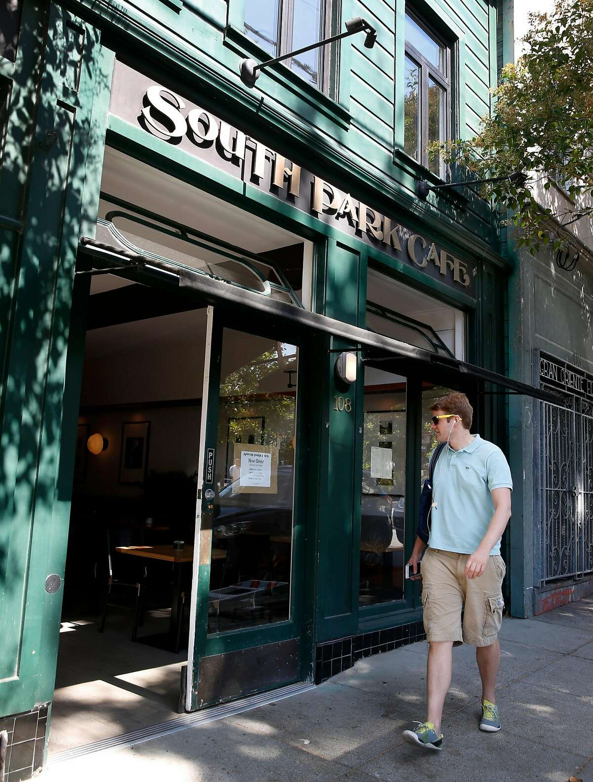 The newly reopened South Park Cafe resumes lunch service in San Francisco, Calif. on Wednesday, Sept. 11, 2019. Tech startup Brex purchased and renovated the cafe after it had been closed for over a year.