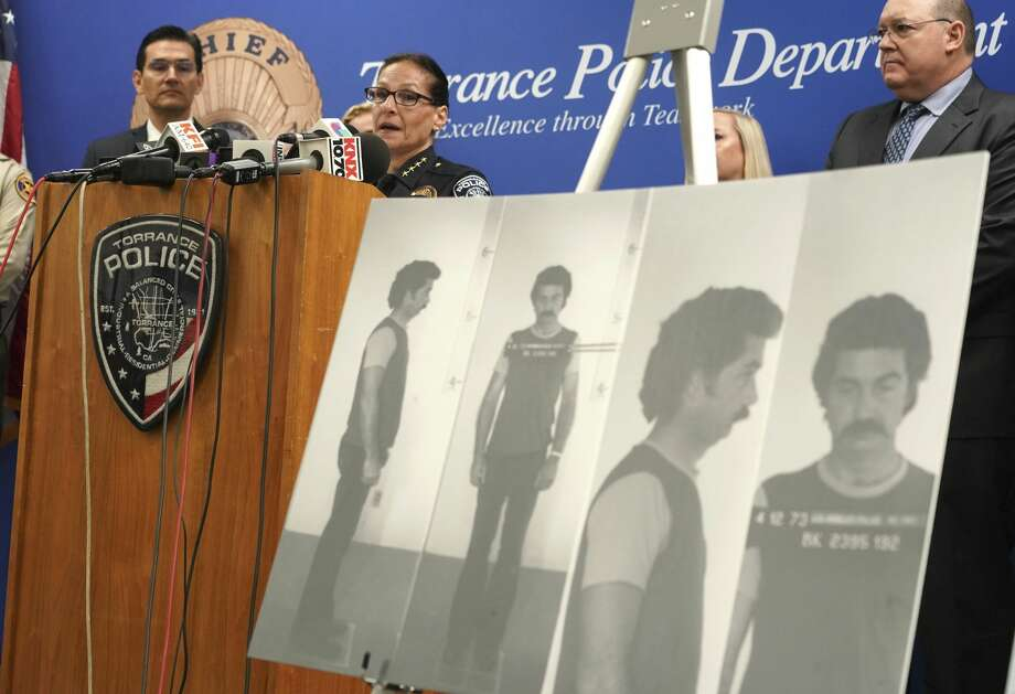 Torrance Police Chief Eve R. Irvine speaks at a press conference in front of a 1972 booking photo of Jake Brown in Torrance on Wednesday, Sep. 11, 2019. Through DNA evidence, the Torrance police department matched a suspect, Jake Brown who is deceased, to the murder of 11-year-old Terri Lynn Hollis in 1972. (Scott Varley/The Orange County Register via AP) Photo: Scott Varley/AP