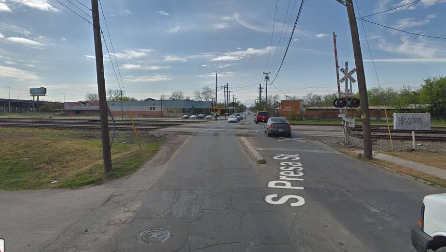 A man was hit and killed by a train moments after its horn blew and he waved back Tuesday afternoon just south of downtown at South Presa and Conrad streets. Photo: Google Maps