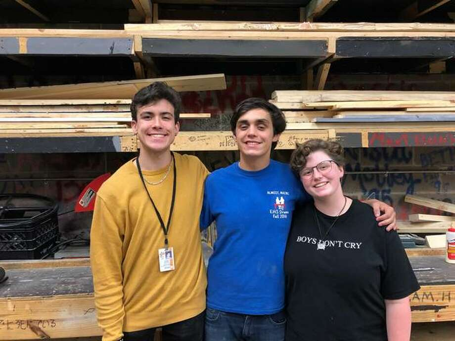 """Edwardsville High School students Aidan Williams, River Johnson, and MJ Loyet were selected to be part of the All-State crew for the production of """"Aida."""" Photo: For The Intelligencer"""