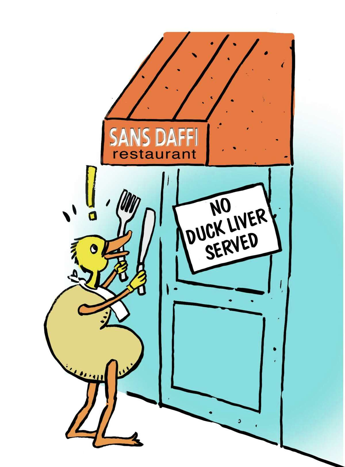Times Union staff illustration--RICHARD LOVRICH This dismayed duck liver (foie gras) is not being served at some restaurants, citing issues of animal cruelty and such.