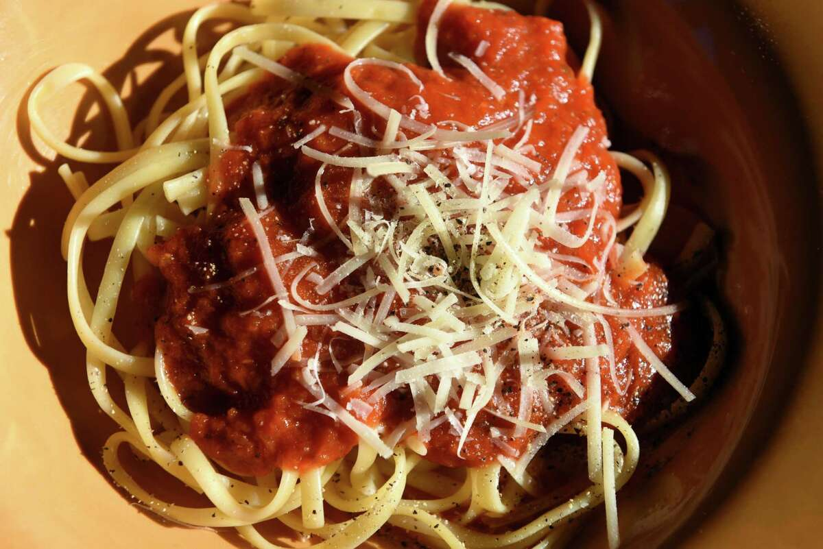 Classic tomato sauce served over spaghetti from Caroline Barrett on Wednesday, Sept. 4, 2019, in Delmar, N.Y. (Will Waldron/Times Union)