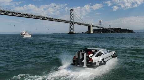 Matt Riese drives his Delorean hovercraft in SF Bay on Wednesday, Sept. 4, 2019, in San Francisco, Calif.