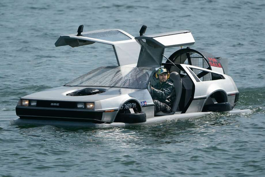 The DeLorean doesn't actually fly. It hovers 6 to 8 inches above land or water, powered by a lawnmower engine in the hood. Photo: Paul Kuroda / Special To The Chronicle
