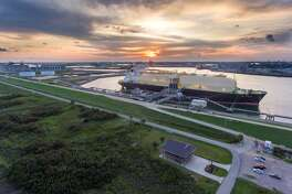 A Bahamas-flagged tanker named LNG Jurojin carried the first shipment of liquefied natural gas from the Freeport LNG export terminal near the Brazoria County town of Quintana on Tuesday, September 3, 2019. The first production unit has been completed but construction continues for two more. Once all three are in operation, the liquefied natural gas facility will be able to produce up to 15 million metric tons of LNG per year.