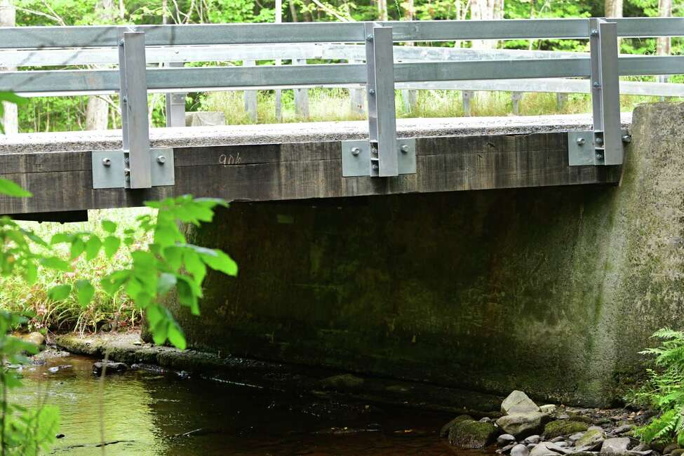 Creosote wooden bridge installed in front of Jack Spillman's house by the county on Wednesday, Sept. 11, 2019 in Stephentown Center, N.Y. He's been having respiratory problems all summer since it was put in. (Lori Van Buren/Times Union)