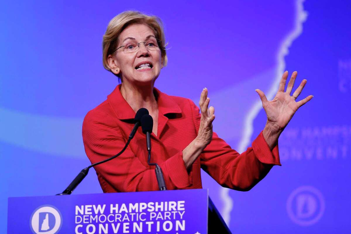 Democratic presidential candidate Sen. Elizabeth Warren, D-Mass., speaks during the New Hampshire state Democratic Party convention, Saturday, Sept. 7, 2019, in Manchester, NH. (AP Photo/Robert F. Bukaty)
