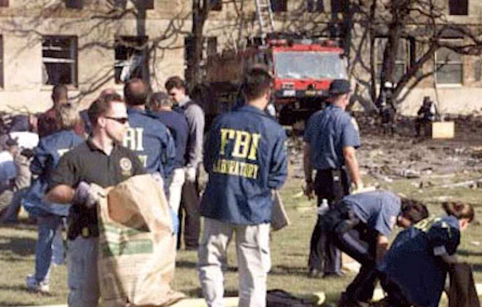 FBI evidence experts work at the Pentagon following the Sept. 11, 2001, attacks.