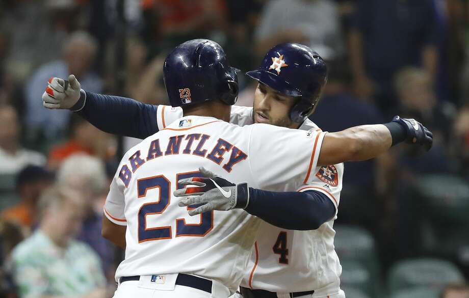 PHOTOS: Astros vs. Athletics Houston Astros George Springer (4) hugs Michael Brantley (23) after his solo home run during the first inning of a MLB baseball game at Minute Maid Park, Tuesday, Sept. 10, 2019, in Houston. >>>See more photos from the Astros' game against the A's on Tuesday ... Photo: Karen Warren/Staff Photographer