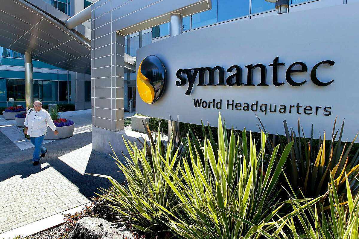 A visitor exits the headquarters building of Symantec Corp. in Mountain View, California, U.S., on Tuesday, Aug. 24, 2010. Intel Corp.' $7.68 billion purchase of McAfee Inc. may put pressure on rival Symantec Corp., the largest supplier of security softwa