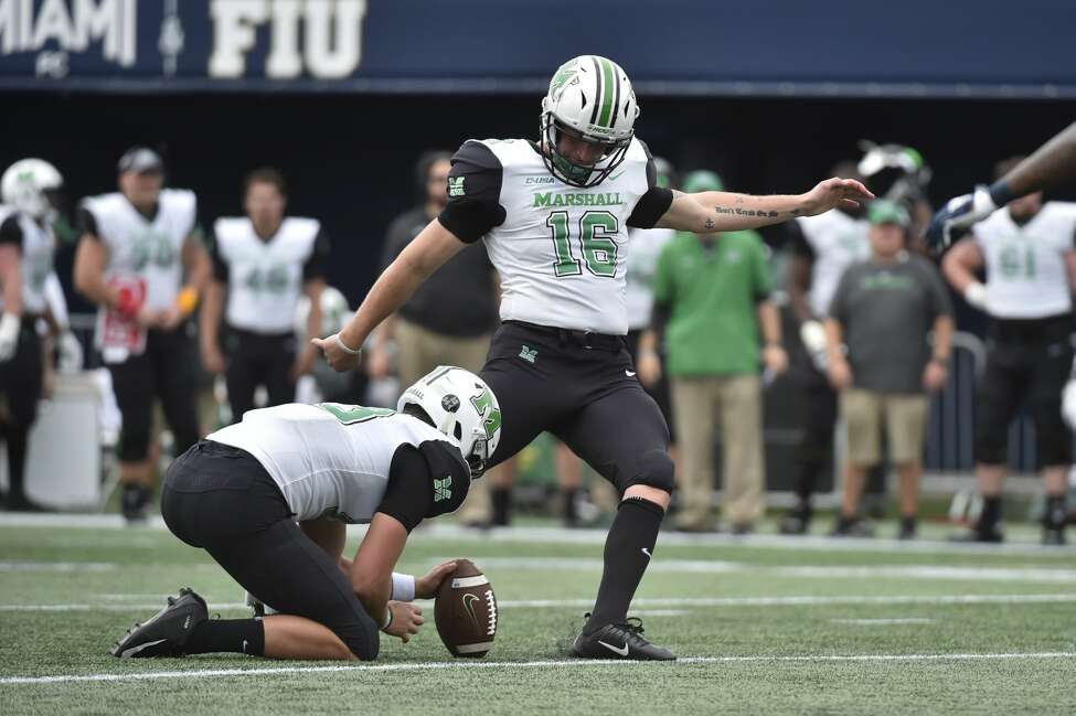 Shenendehowa graduate Justin Rohrwasser, right, of the Marshall football team. (Courtesy of Marshall University)