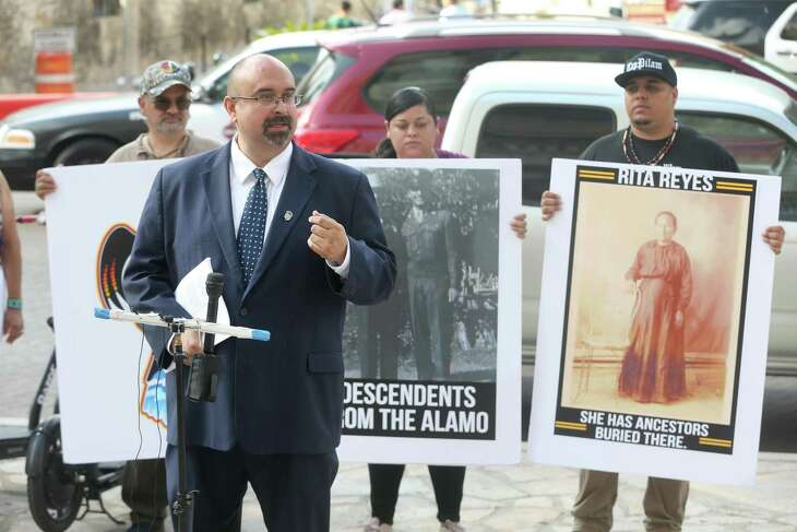 Attorney Art Martinez de Vara speaks Tuesday, Sept. 10, 2019 at the Hipolito F. Garcia Federal Building and U.S. Courthouse across the street from the Alamo about the federal lawsuit he filed on behalf of the Tap Pilam Coahiltecan Nation, the San Antonio Missions Cemetery Association and Raymond Hernandez against the city of San Antonio, the Texas General Land Office and two other parties to ensure lineal descendants rights are protected and regulatory processes are followed.