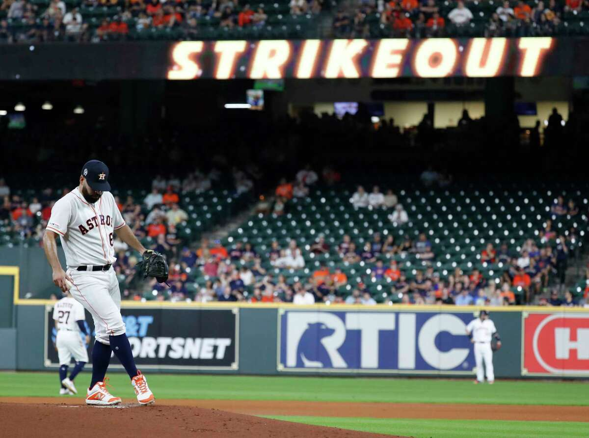 Houston Astros starting pitcher Jose Urquidy (65) after striking out Oakland Athletics Matt Chapman during the first inning of a MLB baseball game at Minute Maid Park, Wednesday, Sept. 11, 2019, in Houston.