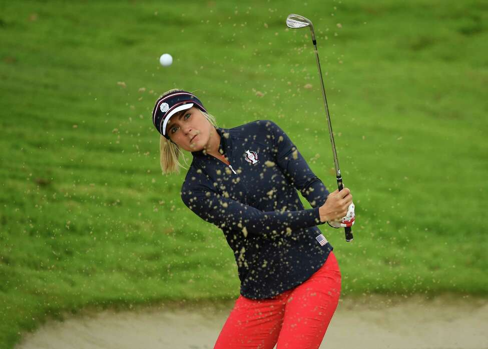 AUCHTERARDER, SCOTLAND - SEPTEMBER 11: Lexi Thompson of Team USA plays a bunker shot during a practice round prior to the start of The Solheim Cup at Gleneagles on September 11, 2019 in Auchterarder, Scotland. (Photo by Stuart Franklin/Getty Images)
