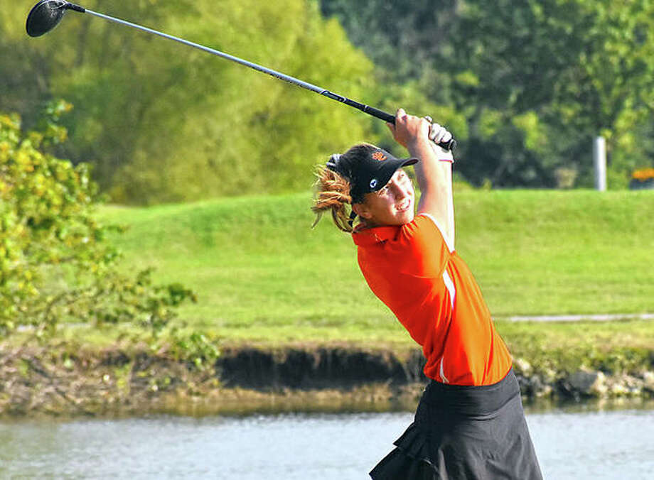 Edwardsville sophomore Grace Daech watches her tee shot on No. 10 on Wednesday at Legacy Golf Course in Granite City. Photo: Matt Kamp|The Intelligencer