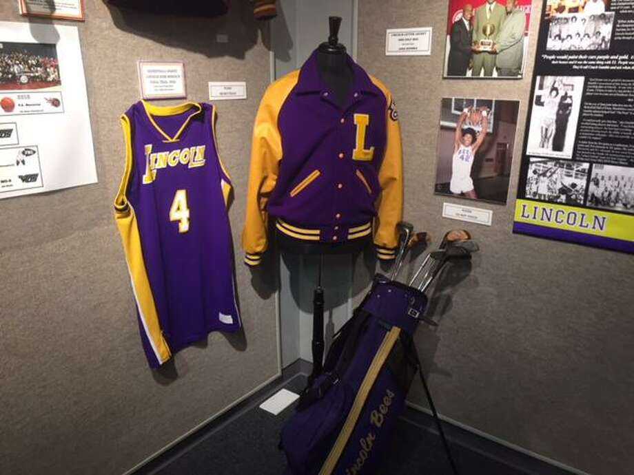 Port Arthur Lincoln sports memorabilia stands on display at the Museum of the Gulf Coast's Hometown Heroes exhibit, which opened on Saturday. Photo by Matt Faye/The Enterprise. Photo: Matt Faye