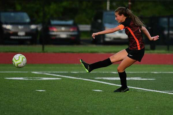 Mohonasen's Liv Raucci takes a shot at the net during a soccer game against Academy of Holy Names on Wednesday, Sept. 11, 2019 in Rotterdam N.Y. (Lori Van Buren/Times Union)